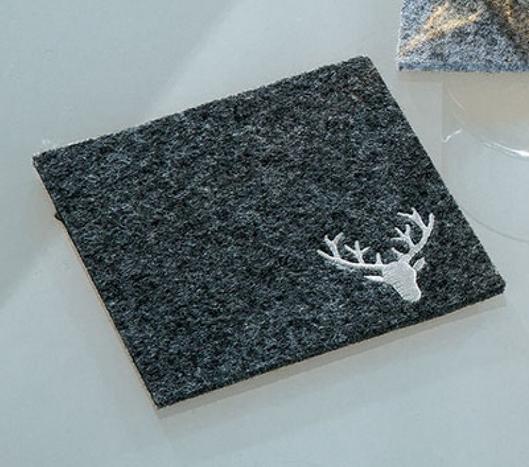Untersetzer Filz Untersetzer grau oder braun Hirsch Tisch